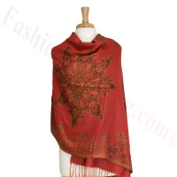 Gorgeous border Pashmina Label Red