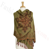 Gorgeous border Pashmina Label Olive Green