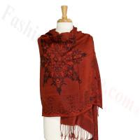 Gorgeous border Pashmina Label Dark Red