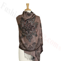 Gorgeous border Pashmina Label Grey Pink