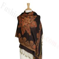 Gorgeous border Pashmina Label Black
