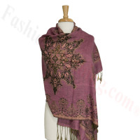Gorgeous border Pashmina Label Pink