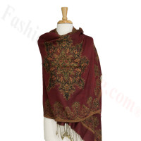 Gorgeous border Pashmina Label Burgundy