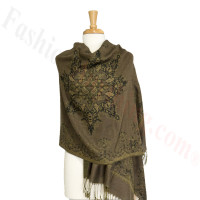 Gorgeous border Pashmina Label Pale Green