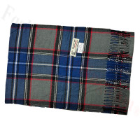 Woven Cashmere Feel Plaid Scarf Z17 Blue / Grey