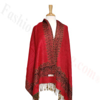Border Patterned Pashmina label Red