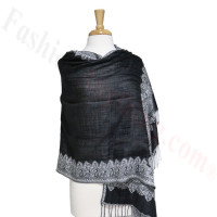 Border Patterned Pashmina Label Black/White