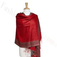 Border Patterned Pashmina Label Red/White