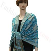 Jacquard Paisley Pashmina 2-Ply Turquoise