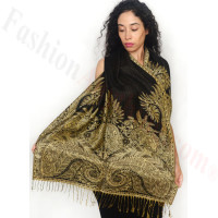 Big Paisley Thicker Pashmina Black
