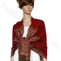 Big Paisley Thicker Pashmina Red