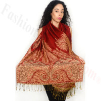 Big Paisley Thicker Pashmina Red