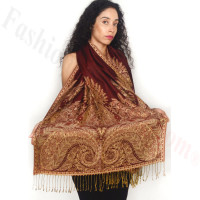 Big Paisley Thicker Pashmina Dark Red
