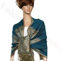 Big Paisley Thicker Pashmina Turquoise