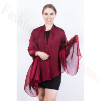 Light Solid Chiffon Shawl Burgundy