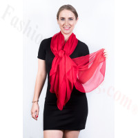 Light Solid Chiffon Shawl Red