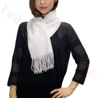 Winter Cashmere Feel Scarf Silver White
