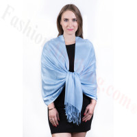 Silky Soft Solid Pashmina Scarf Light Blue