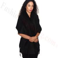 Rose Border Pashmina Black