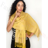 Rose Border Pashmina Yellow/Beige