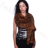 Rose Border Pashmina Bronze