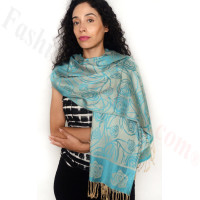 Rose Border Pashmina Turquoise/Beige