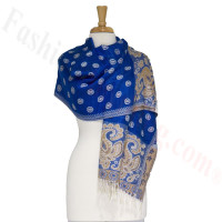 Dots Paisley Pashmina Royal Blue