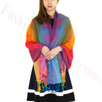 Paisley Rainbow Pashmina Multi Red