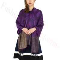 Paisley Leaves Pashmina Purple / Black
