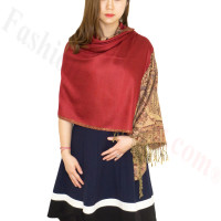 Luxury 2ply Pasiley Pashmina Dark Red
