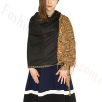 Luxury 2ply Pasiley Pashmina Black / Orange