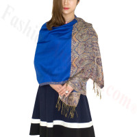 Luxury 2ply Pasiley Pashmina Royal Blue