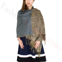 Luxury 2ply Pasiley Pashmina Grey