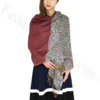 Luxury 2ply Pasiley Pashmina Wine