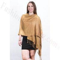 Silky Soft Solid Pashmina Scarf Golden Brown
