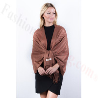 Bronze Solid Pashmina Label Scarf