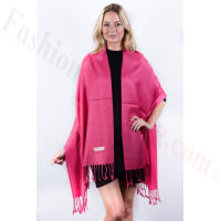 Watermelon Pink Solid Pashmina Label Scarf