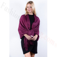 Berry Solid Pashmina Label Scarf