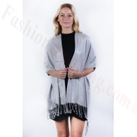 Silver Solid Pashmina Label Scarf