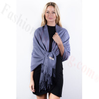 Purple Grey Solid Pashmina Label Scarf