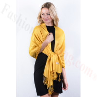 Golden Yellow Solid Pashmina Label Scarf