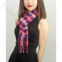 Woven Cashmere Feel Checker Scarf Z03 Pink Multi Color