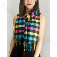 Woven Cashmere Feel Checker Scarf Z03 Yellow Multi Color