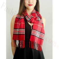 Woven Cashmere Feel Classic Scarf Red