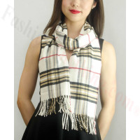Woven Cashmere Feel Classic Scarf White