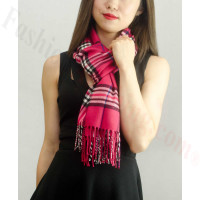 Woven Cashmere Feel Classic Scarf Fuschia Red