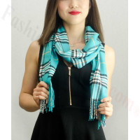 Woven Cashmere Feel Classic Scarf Light Teal