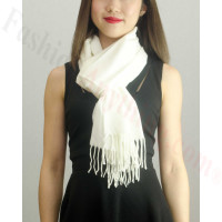 Solid Cashmere Feel Scarf White