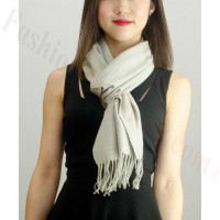 Solid Cashmere Feel Scarf Light Grey