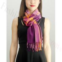 Woven Cashmere Feel Plaid Scarf Z23 Berry